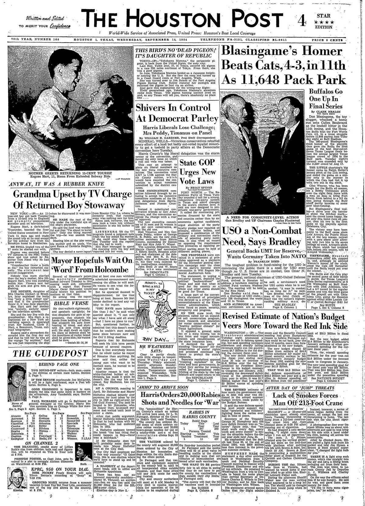 Houston Post front page from Sept. 15, 1954.