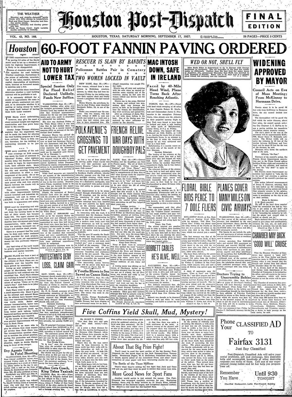 Houston Post front page from Sept. 17, 1927.