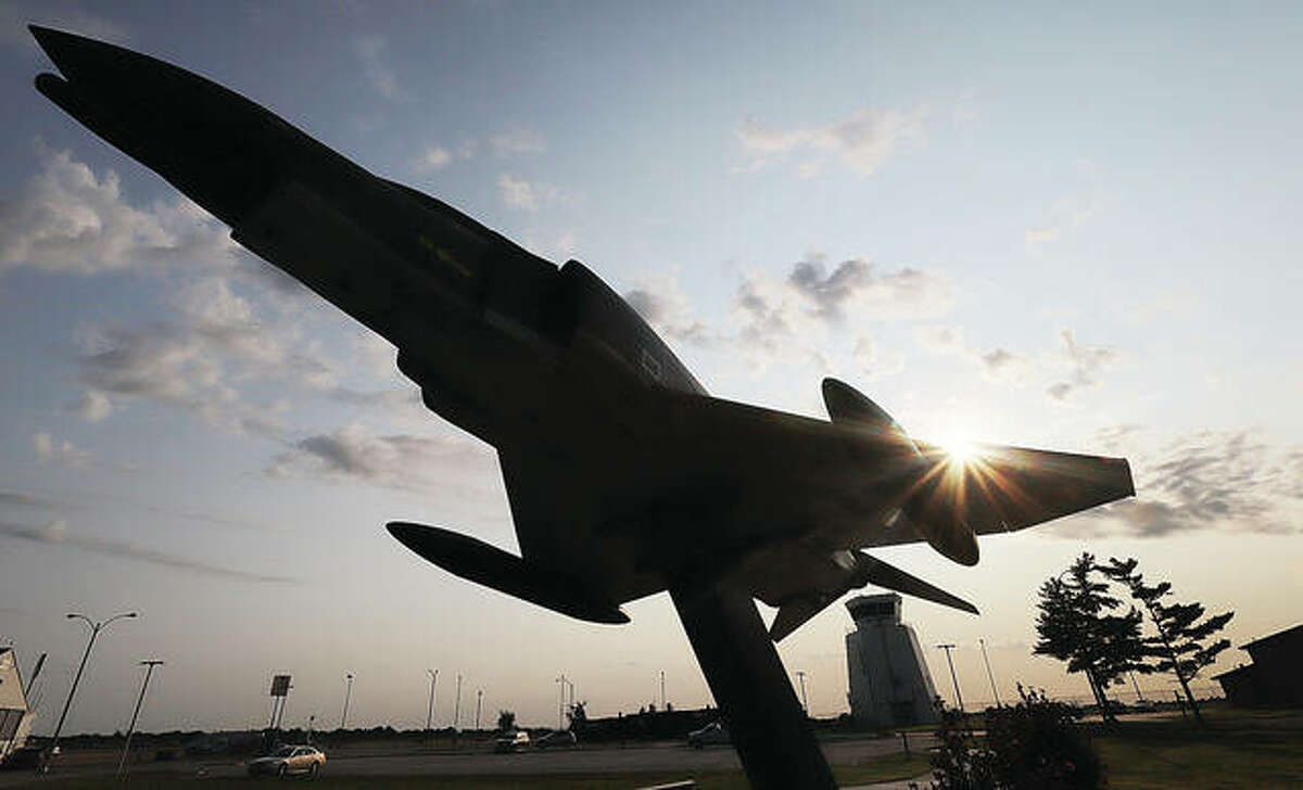 The sun rises above the F4 Phantom fighter jet Friday morning at St. Louis Regional Airport in Bethalto. On September 11, 2001, air traffic of every kind was ordered to land immediately. - John Badman The Telegraph