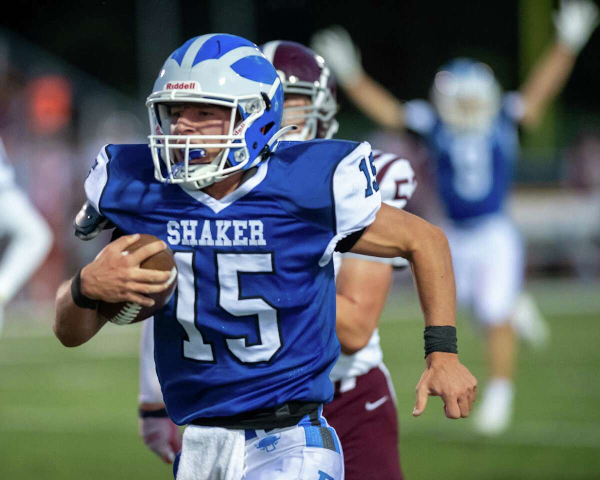 Shaker High quarterback Jake Iacobaccio breaks a long run for a touchdown against Burnt Hillsat Shaker High in Latham, N.Y., on Friday, Sept. 10, 2021. (Jim Franco/Special to the Times Union)