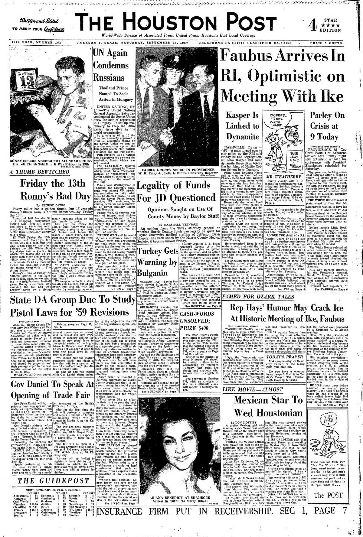 Houston Chronicle front page from Sept. 14, 1957.