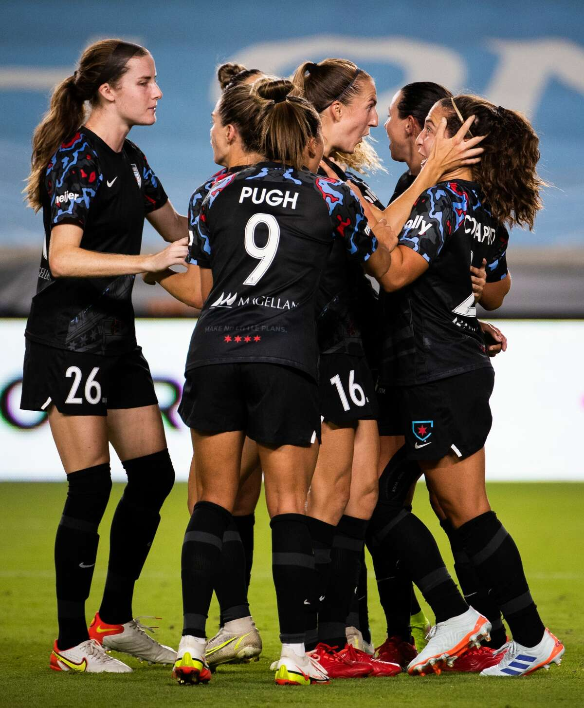 Chicago Red Stars celebrate after scoring a goal against the Houston Dash during the second half of the game at BBVA Stadium, Friday, Sept. 10, 2021, in Houston. The game ended in a tie 1-1.