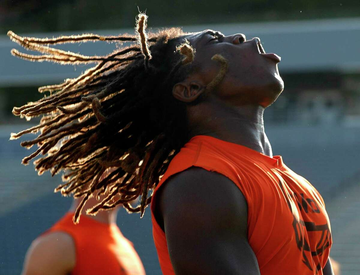 Bridgeland defensive linemen Aaron Vital (48) warms up before a non-district high school football game at Woodforest Bank Stadium, Friday, Sept. 10, 2021, in Shenandoah.