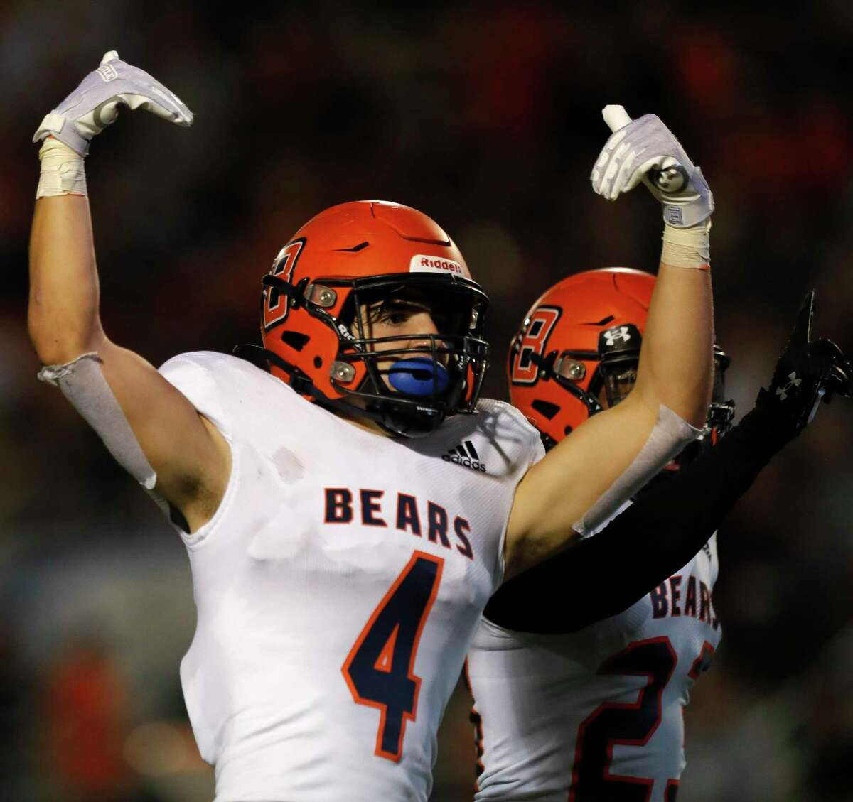 Bridgeland defensive back Graham Gillespie (4) reacts after breaking up a pass on fourth down during the second quarter of a non-district high school football game at Woodforest Bank Stadium, Friday, Sept. 10, 2021, in Shenandoah.