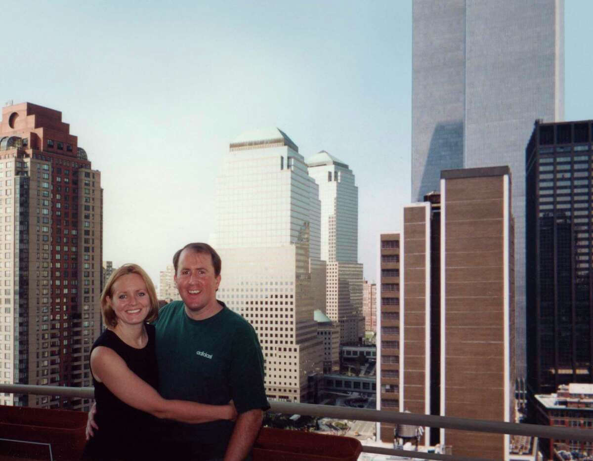 Christina and Brian Stanton on the balcony of their apartment before 9/11.