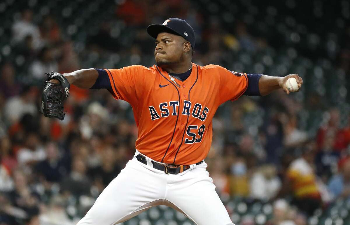Houston Astros starting pitcher Framber Valdez was scratched from Thursday's start in Arlington because of a small cut on his throwing hand.