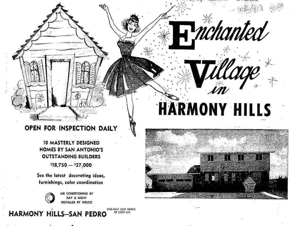 An ad from the July 30, 1961, San Antonio Express shows off midcentury style and emphasizes central air-conditioning in the Enchanted Village section of Harmony Hills, an early subdivision north of Loop 410