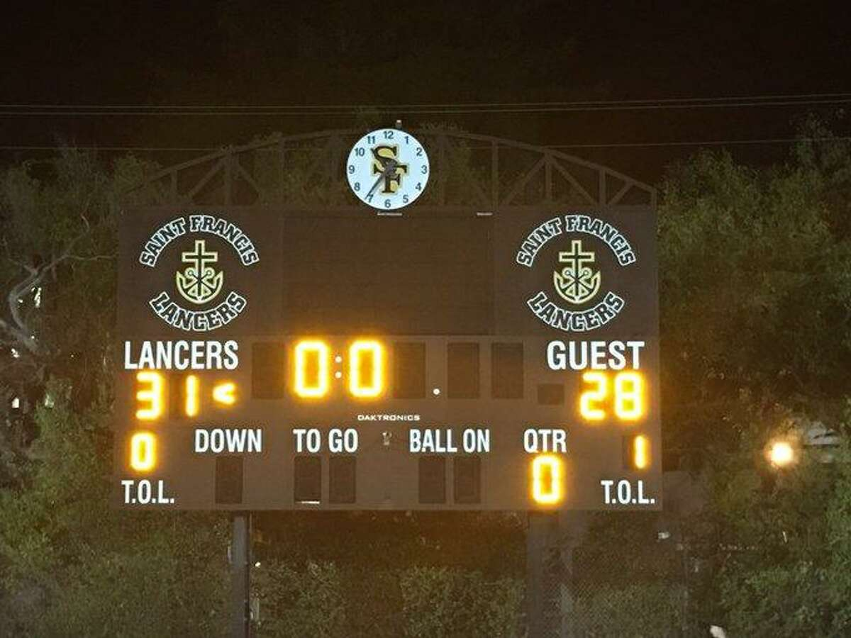 The St. Francis scoreboard tells the story of the Lancers' stunner over De La Salle.