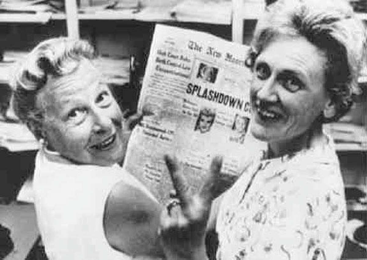Estelle Griswold, left, and clinic co-worker Cornelia Jahncke celebrate the 1965 Supreme Court decision, Griswold vs. Connecticut, that legalized contraceptive use.