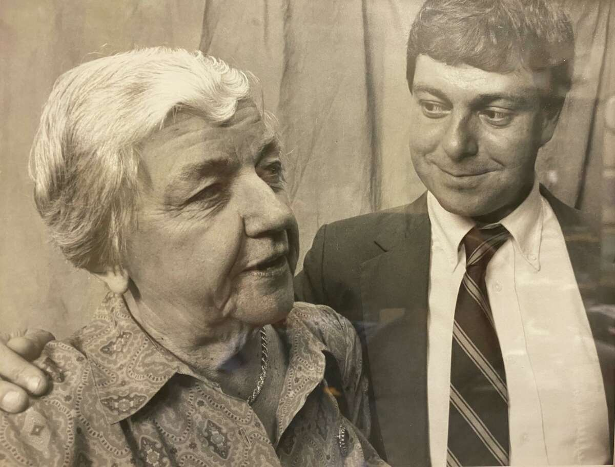 Catherine Roraback, left, with her cousin, Andrew Roraback, then a state senator, now a Connecticut Supreme Court justice.