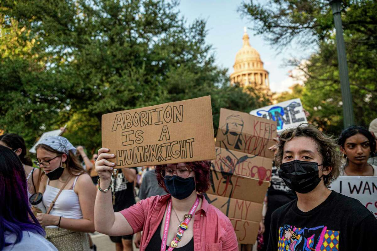 Protesters march outside the Texas Capitol on Sept. 1, demonstrating against the state's new law, SB8, which effectively bans nearly all abortions.