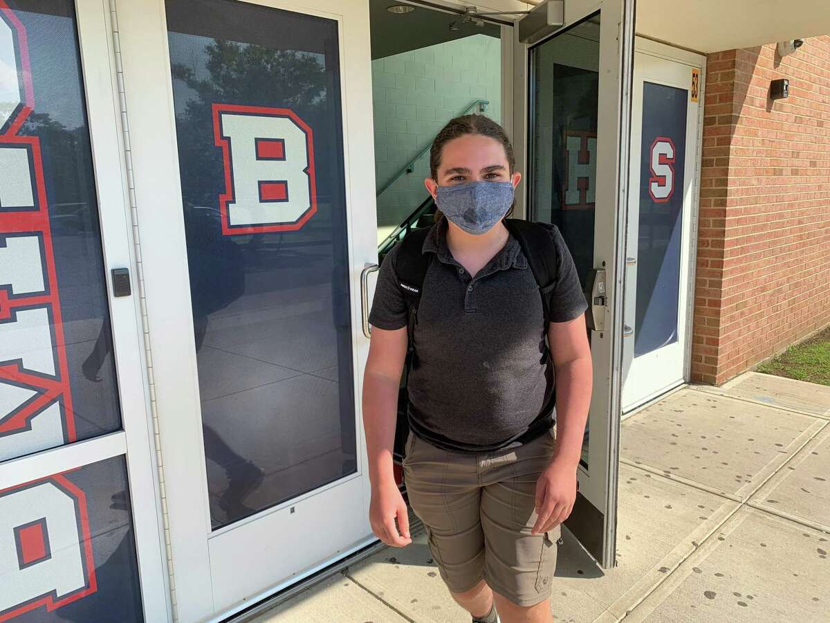 Laszlo Balazs leaves Brien McMahon High School after completing her second week back. Balazs returned to in-person learning this year after choosing to learn fully remote last year at Roton Middle School.
