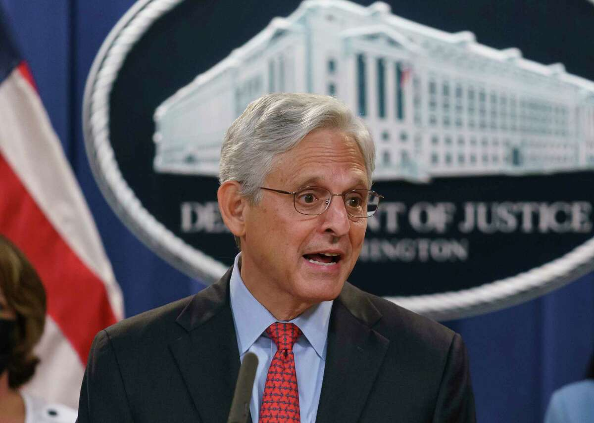 FILE - In this Sept. 9, 2021, file photo, Attorney General Merrick Garland announces a lawsuit to block the enforcement of a new Texas law that bans most abortions, at the Justice Department in Washington. The Texas abortion ban that so far has outmaneuvered Supreme Court precedent is the latest iteration of a legislative strategy used by Republican-led states to target pornography, gay rights and other hot-button cultural issues. But some are beginning to sound the alarm that the tactic of having enforcement done by citizens instead of government agencies could have a boomerang effect, pointing out that Democrats could use the same strategy on issues like gun control.
