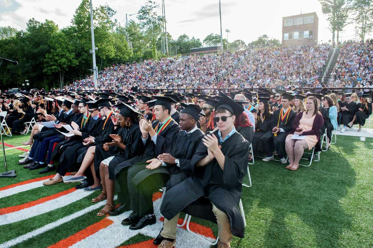 Shelton aldermen have approved funding a renovation plan for the concession area and rest rooms at Shelton High School's Finn Stadium, shown here during the school's 2019 graduation ceremony.