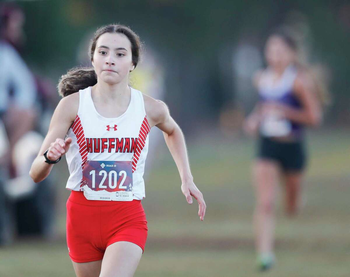 Huffman's Jetzibe Trevino finished first overall in the Dog Pound cross country meet at Magnolia High School, Saturday, Sept. 11, 2021, in Magnolia.