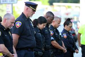 Stamford police hold a 9/11 memorial on the 20th anniversary of the terrorist attacks in front of police headquarters in Stamford, Conn., on Saturday September 11, 2021.