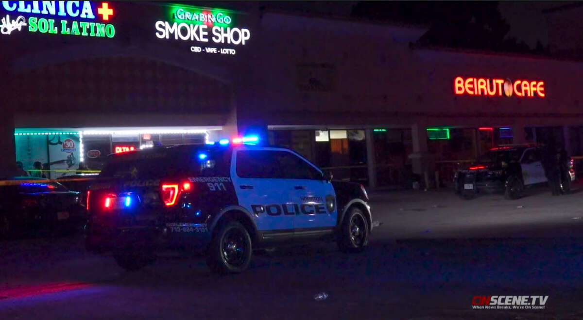 Houston Police at the scene of a shooting at Richmond Plaza nightclub where one victim died in Houston on Sept. 11, 20201