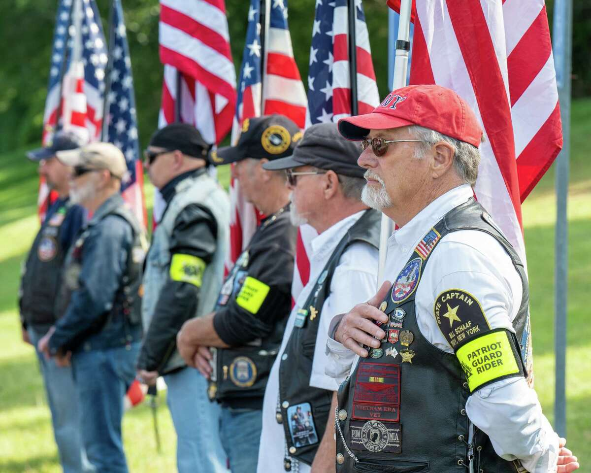 The Patriot Guard stand at attention during a ceremony at Colonie High School on Sept. 11, 2021, commemorating the 20th anniversary of the Sept. 11, 2001, terrorist attacks on the U.S.. (Jim Franco/Special to the Times Union)
