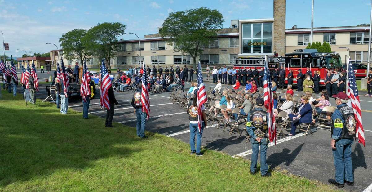 A ceremony at Colonie High School on Sept. 11, 2021, to commemorate the 20th anniversary of the Sept. 11, 2001, terrorist attacks on the U.S. (Jim Franco/Special to the Times Union)