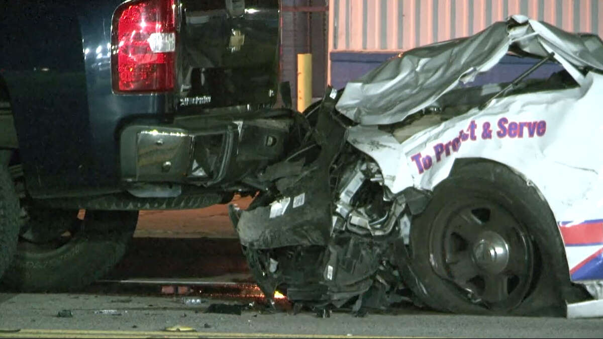 A constable's deputy from Harris County's Pct. 4 crashed Friday evening in north Houston, injuring three people in the other vehicle, and setting off a series of collisions.