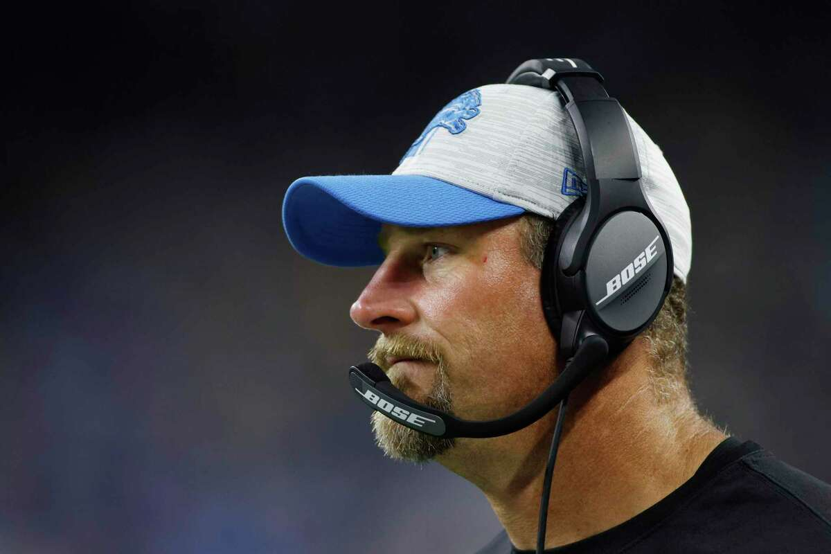 Detroit Lions head coach Dan Campbell on the sidelines during the second half of a preseason NFL football game against the Indianapolis Colts, Friday, Aug. 27, 2021, in Detroit. (AP Photo/Al Goldis)