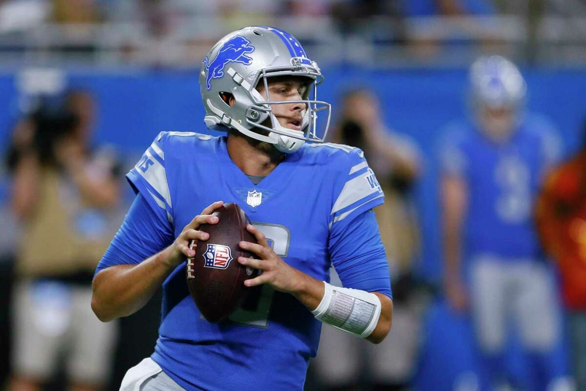 FILE - In this Aug. 13, 2021, file photo, Detroit Lions quarterback Jared Goff drops back to pass during the first half of the team's preseason NFL football game against the Buffalo Bills in Detroit. The Lions made a lot of changes in the offseason by bringing in a new general manager, coach and quarterback. General manager Brad Holmes and coach Dan Campbell might be able to eventually turn the team around, but it's difficult to envision that happening this season with quarterback Goff and a defense that might not be better than last year's historically bad unit. (AP Photo/Duane Burleson, File)