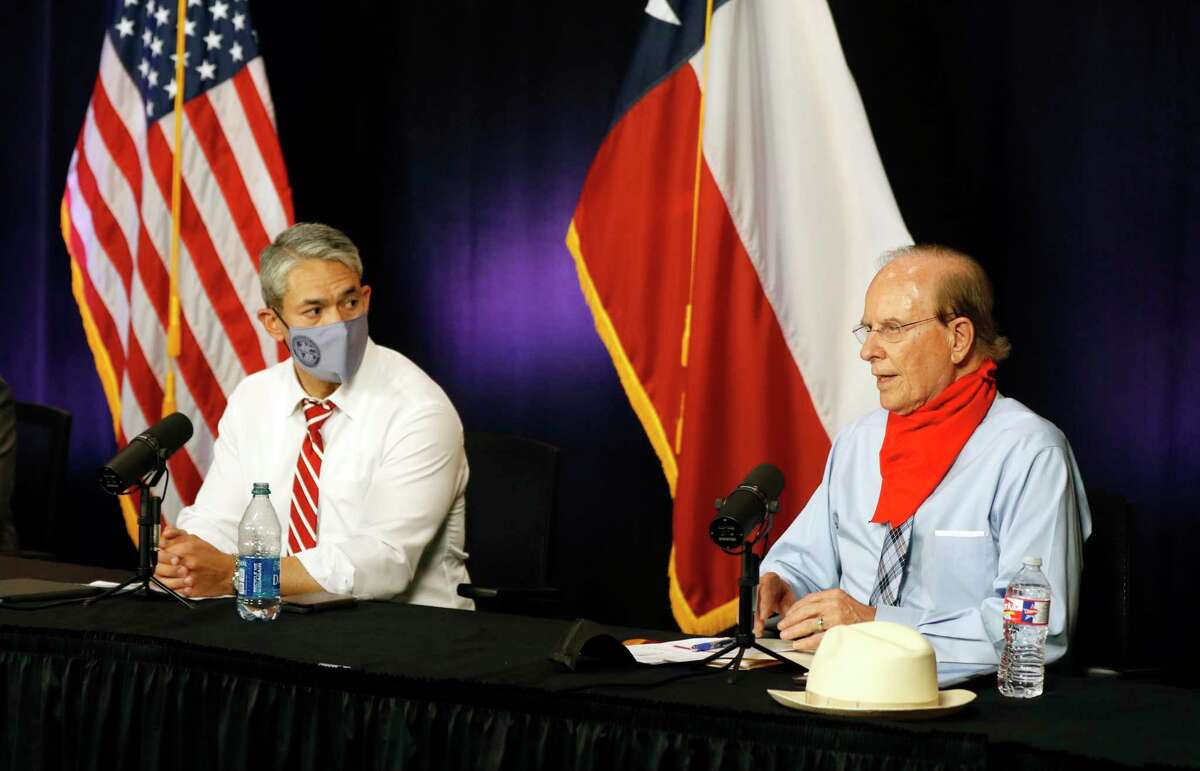 """Bexar County Judge Nelson Wolff, right, said he's not intimidated after a woman videoed herself verbally assaulting him at a North Side H-E-B. Mayor Ron Nirenberg, left, such such """"incivil"""" behavior """"is as big a disease right now in our community and our nation as anything else."""""""