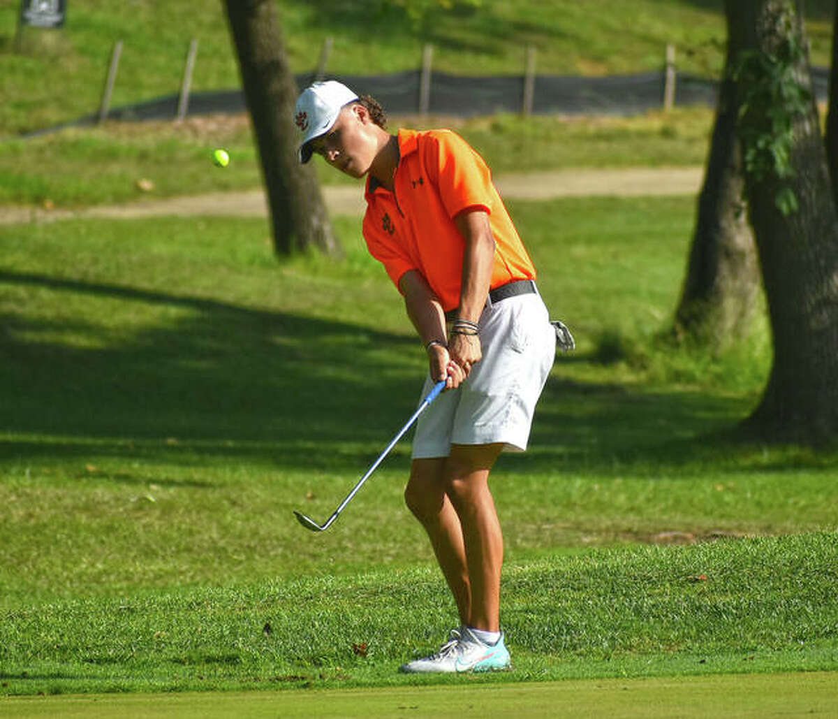 Pictured in action earlier this season at the Dick Gerber Invitational at Fox Creek Golf Course, EHS sophomore Carter Crow finished second at the Mattoon Invitational this weekend.