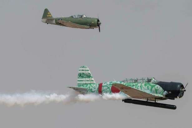 WWII aircraft perform during the Tora Tora Tora display 09/11/2021 at the 2021 AirSho at Midland International Air and Space Port. Tim Fischer/Reporter-Telegram