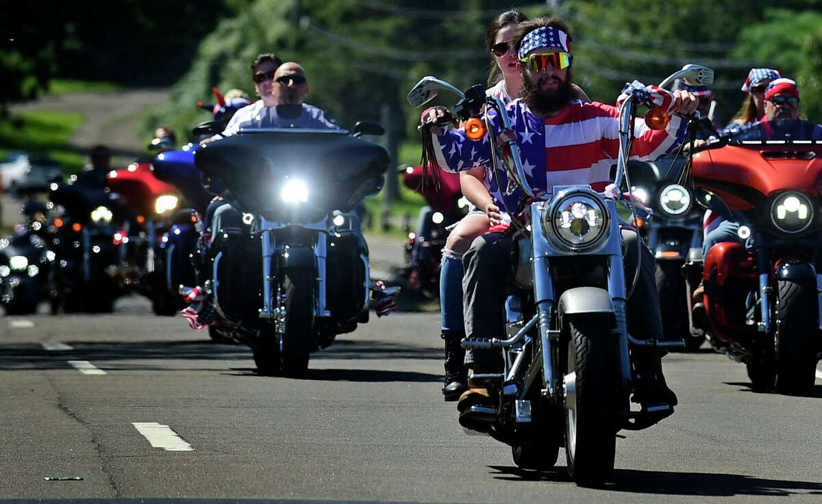 Nearly 5,000 riders head out from Sherwood Island State Park in Westport for the The CT United Ride Saturday. The CT United Ride is a non-stop motorcycle 9/11 tribute to Seaside Park in Bridgeport which passes through 9 towns along the route.