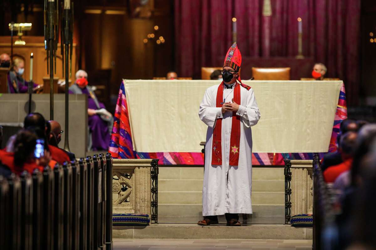The Rev. Megan Rohrer addresses the congregation of the Sierra Pacific Synod upon becoming the first openly transgender bishop of the Evangelical Lutheran Church in America.