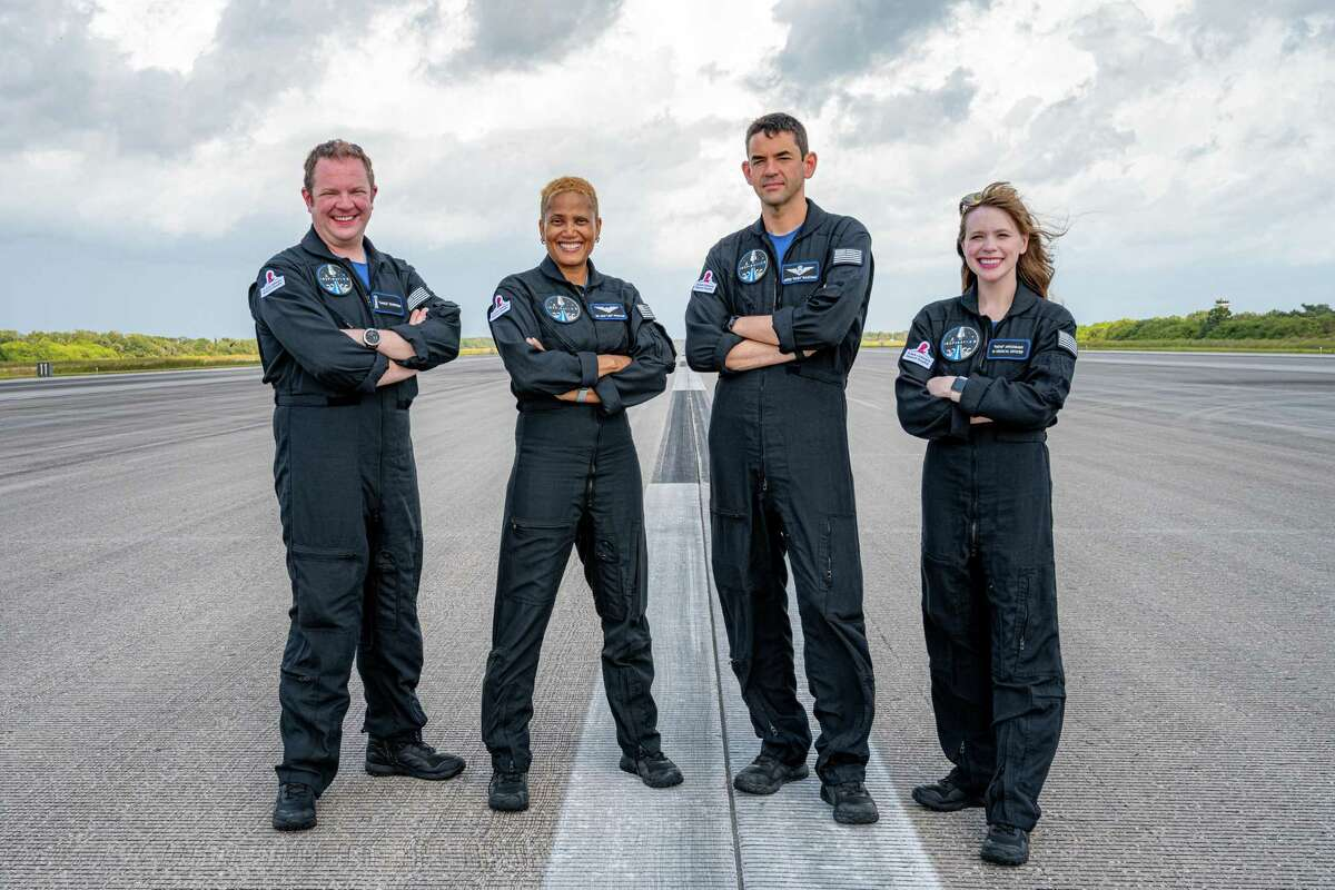 The Inspiration4 crew arrives at NASA's Kennedy Space Center in Florida on Thursday, Sept. 9, 2021. From left are Chris Sembroski, Sian Proctor, Jared Isaacman and Hayley Arceneaux.