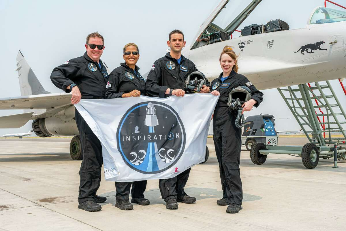 The Inspiration4 crew is shown during fighter jet training in Bozeman, Mont., on Aug. 8, 2021. Pictured, from left, are Chris Sembroski, Sian Proctor, Jared Isaacman and Hayley Arceneaux.