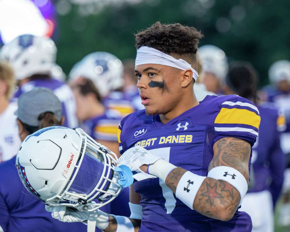 UAlbany safety Larry Walker Jr. prior to the home opener against Rhode Island on Saturday, Sept. 11, 2021. (Jim Franco/Special to the Times Union)