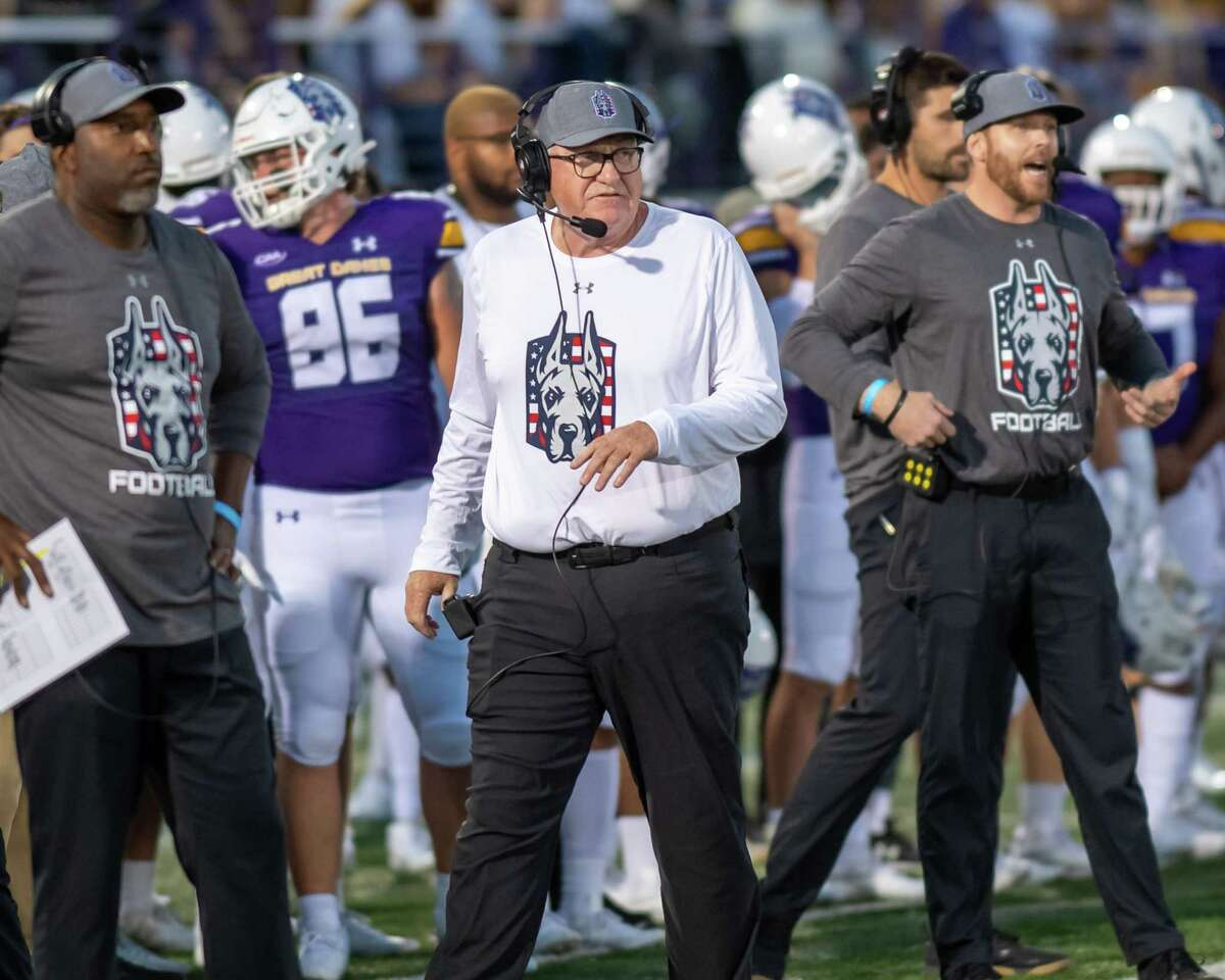 UAlbany football Coach Greg Gattuso during the home opener against Rhode Island on Saturday. Gattuso said Week 3 is a tough time to be playing a Football Bowl Subdivision team.