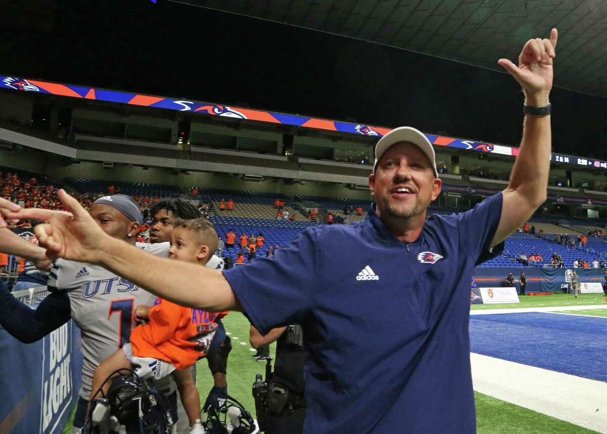 UTSA head coach Jeff Traylor celebrates with fans at the end of the game. UTSA v Lamar on Saturday.