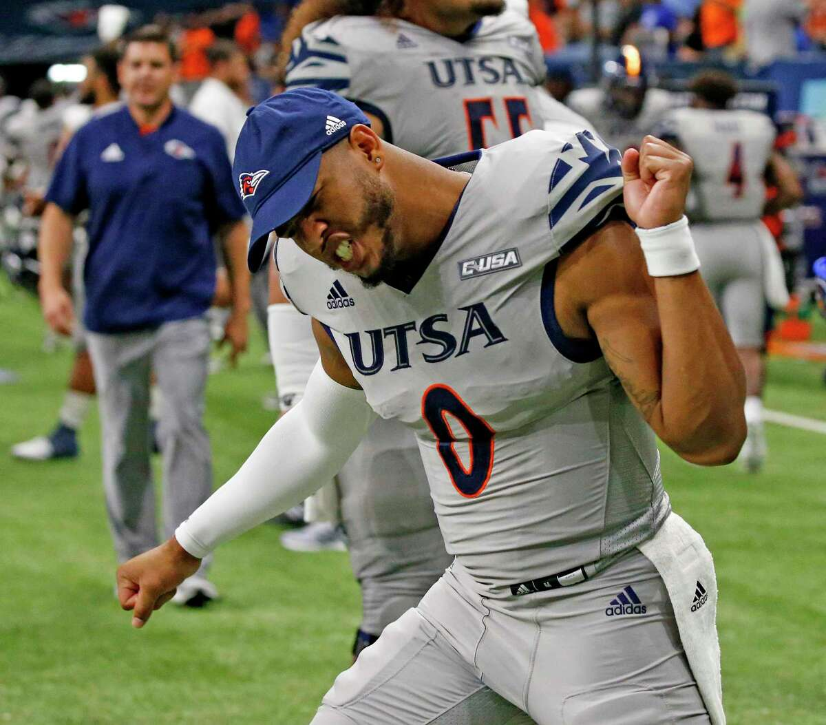 UTSA quarterback Frank Harris reacts at the end of the game. UTSA v Lamar on Saturday.