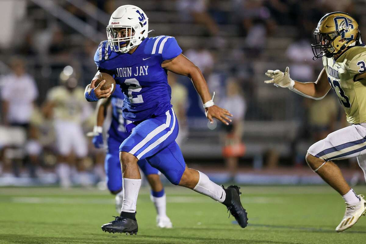 Jay's Xadrian Huerta (2) is the second-leading rusher in the area with 569 yards and six TDs and also has 21 tackles at linebacker, helping the Mustangs to their best start since 2006.