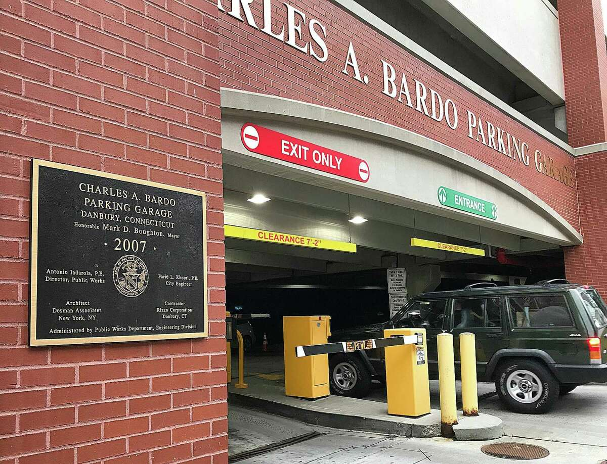 A vehicle pulls into the Charles A. Bardo Parking Garage in downtown Danbury, Conn., on the morning of Wednesday, Dec. 6, 2017. New technology will be installed at the Bardo and Patriot garages.