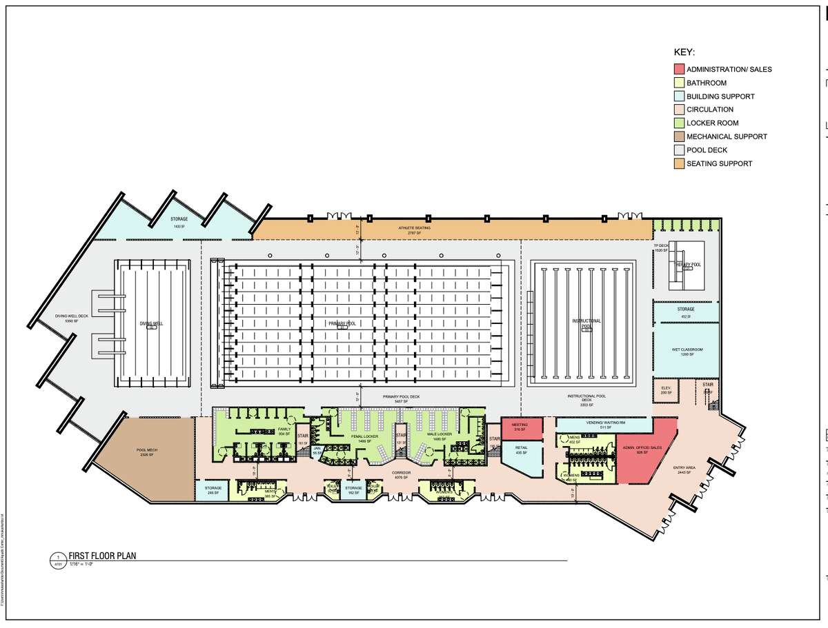 The Capital Region Aquatic Center has recently secured pledges from the city of Schenectady and Schenectady County to help further the construction of a 80,000-square-foot facility at Mohawk Harbor in Schenectady. Pictured above are first-floor blueprints.