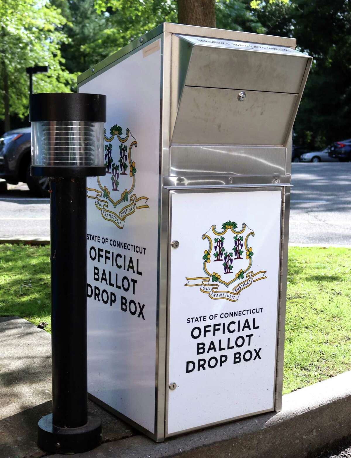 A ballot drop box is set up at Harry Bennett Library in Stamford, Conn., on Friday Sentember 10, 2021.