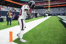 Houston Texans wide receiver Brandin Cooks (13) stands in the corner of the end zone before taking the field before an NFL football game Sunday, Sept. 12, 2021, in Houston.