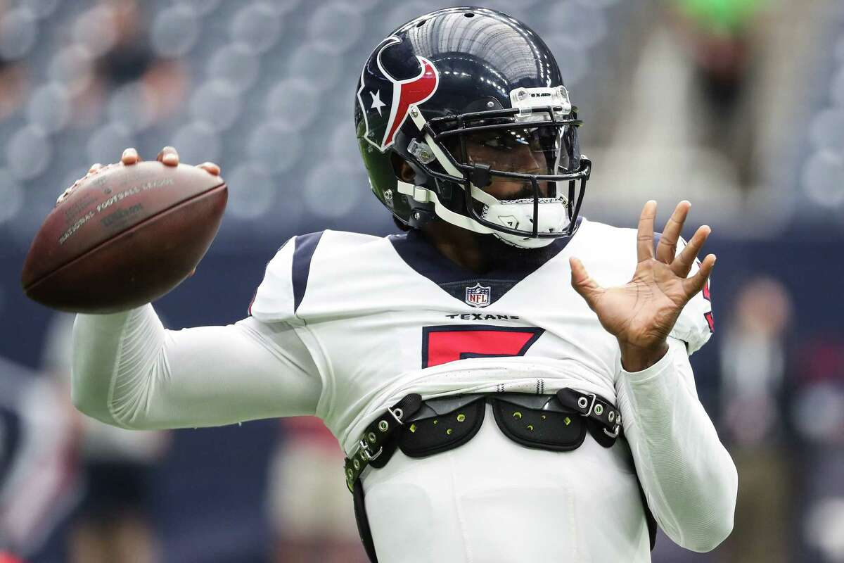 Houston Texans quarterback Tyrod Taylor (5) warms up before an NFL football game Sunday, Sept. 12, 2021, in Houston.