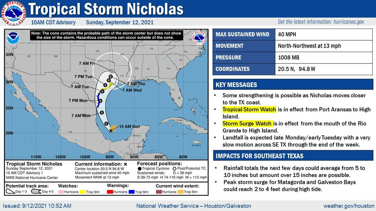The National Hurricane Center said tropical storm warnings and watches have been issued for the coasts of northeastern Mexico and Texas.