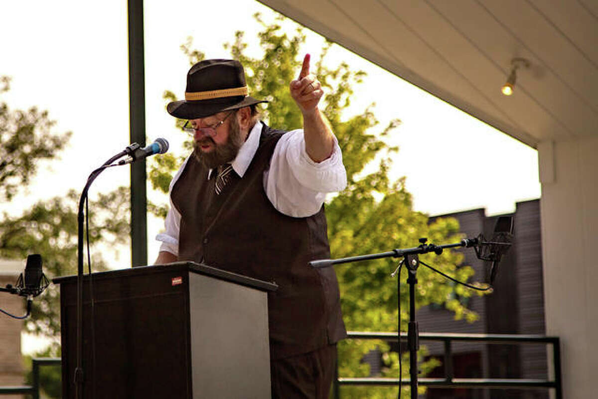 Teddy Roosevelt delivers an address at Living History Days, a Madison County Historial Society Chautauqua, in Edwardsville City Park Saturday.