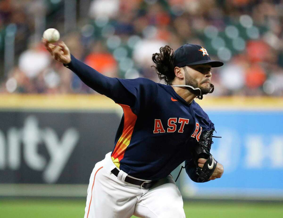 Houston Astros starting pitcher Lance McCullers Jr. (43) pitches during the first inning of a MLB baseball game at Minute Maid Park, Sunday, September 12, 2021, in Houston.