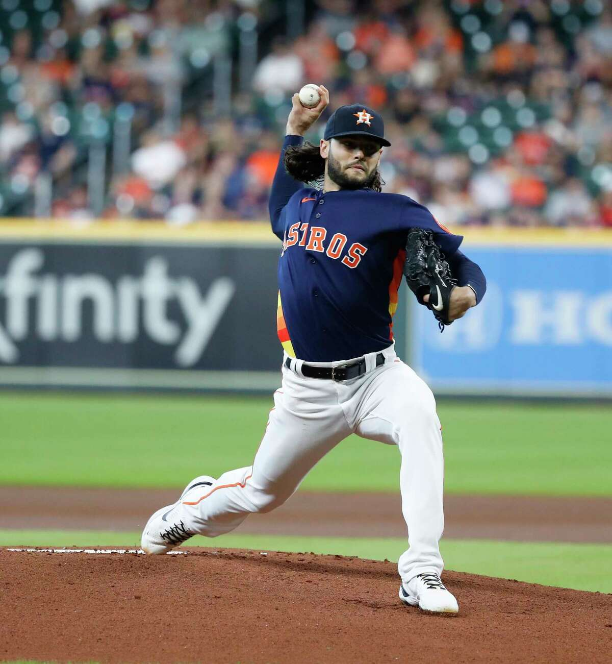 Houston Astros starting pitcher Lance McCullers Jr. (43) pitches to Los Angeles Angels David Fletcher during the first inning of a MLB baseball game at Minute Maid Park, Sunday, September 12, 2021, in Houston.