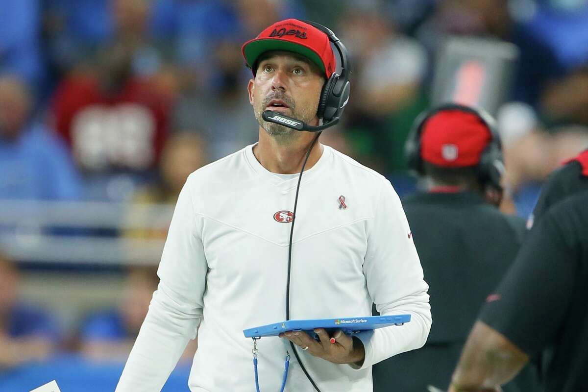 San Francisco 49ers head coach Kyle Shanahan watches against the Detroit Lions in the first half of an NFL football game in Detroit, Sunday, Sept. 12, 2021. (AP Photo/Duane Burleson)