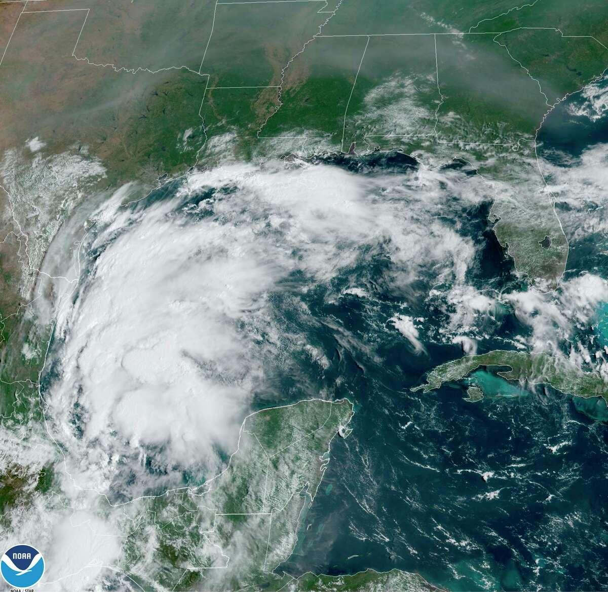Imagen satelital de la tormenta Nicholas en el Golfo de México, el 12 de septiembre de 2021.