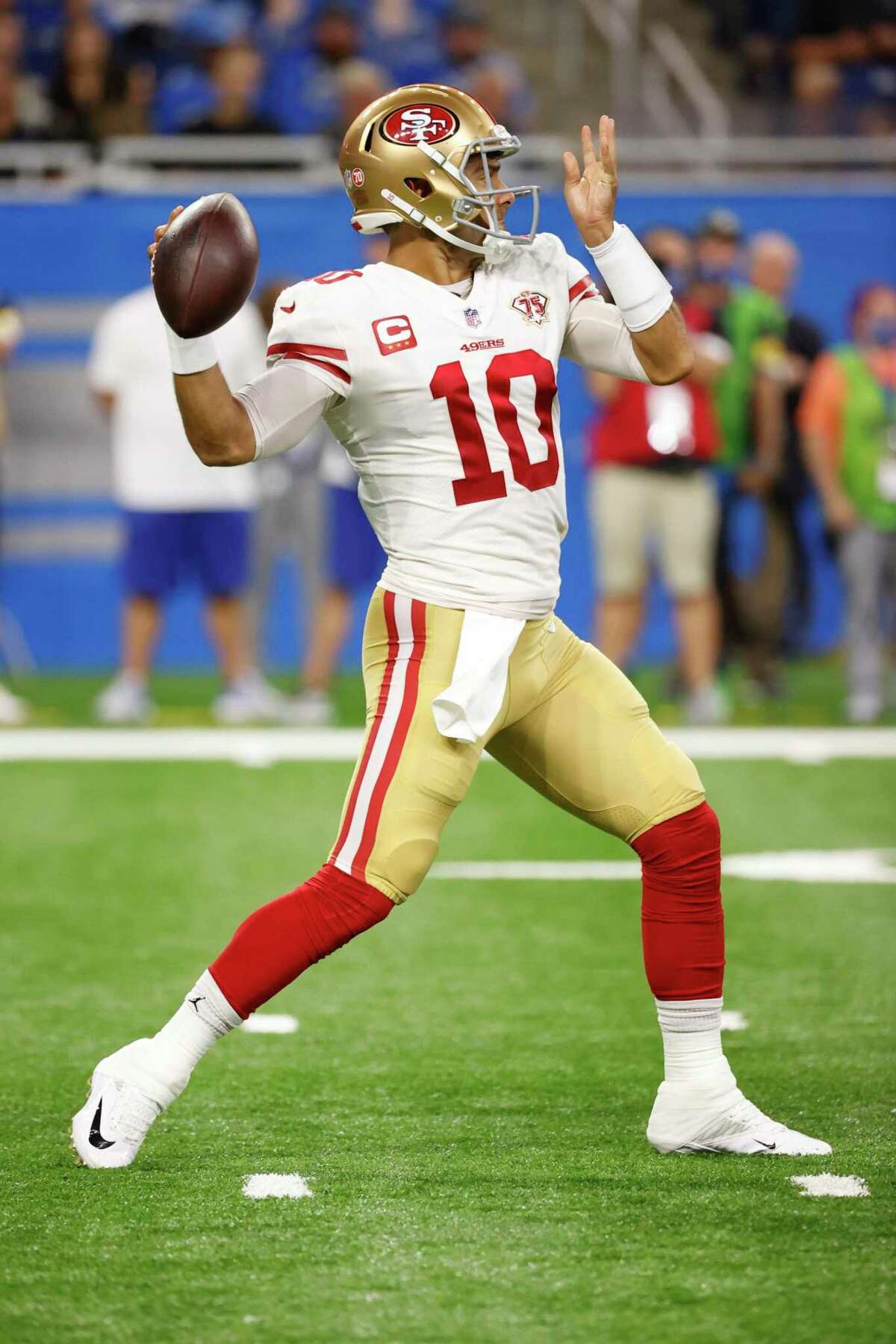 San Francisco 49ers quarterback Jimmy Garoppolo (10) passes in the first half against the Detroit Lions during an NFL football game, Sunday, Sept. 12, 2021, in Detroit. (AP Photo/Rick Osentoski)